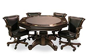 Executive Game Table Set (with 4 chairs) (Mahogany) by Fairview Game Rooms