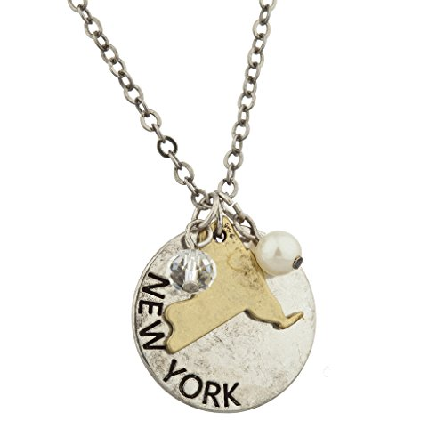 Lux Accessories Burnish Silver New York State NY Shape Charm Necklace