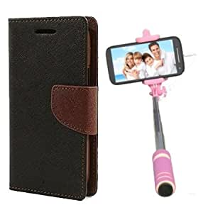 Aart Fancy Diary Card Wallet Flip Case Back Cover For HTC616 - (Blackbrown) + Mini Aux Wired Fashionable Selfie Stick Compatible for all Mobiles Phones By Aart Store