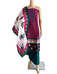 Indian Embroidery Work Cotton Dress Material With Embroidery Dupatta(PINK-RAMA)