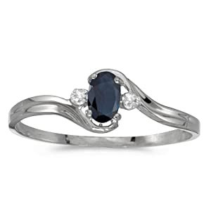 14k White Gold Oval Sapphire And Diamond Ring (Size 6)