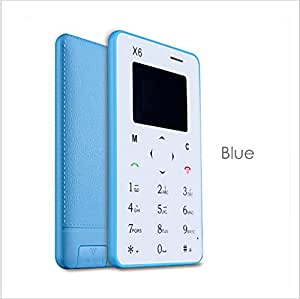 X6 Blue : Lightest, Slimmest 4.8mm, Bluetooth Dialer Lowest Radiation Credit Card Size phone World's Slimmest, Lightest, Lowest Radiation, Slim Credit Card Size, Phone mini card mobile cell phone SIM GSM FM Bluetooth