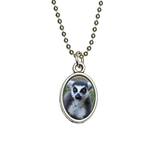 Ring-Tailed Lemur Antiqued Oval Charm Pendant with Chain
