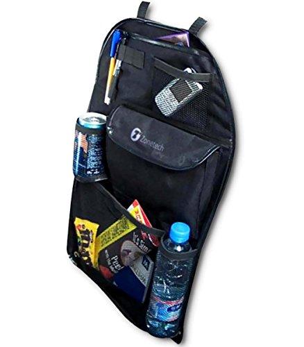 zone-tech-7-pocket-organizer-black-sturdy-rugged-pack-cloth-compact-car-back-seat-headrest-organizer