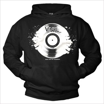 Cool Hoodies for men VINYL RECORD black M