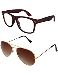Sheomy Unisex Combo Pack Of Transparent Brown Wayfarer Sunglasses And Golden Brown Aviator Sunglasses For Men...