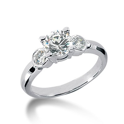 1.50 Ct Diamond Engagement Ring Solitaire 14k White Gold Round Cut Bezel Style SI3 H