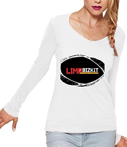Limp Bizkit black logo Women's CLAIRE Long Sleeve T-Shirt Bianco X-Large