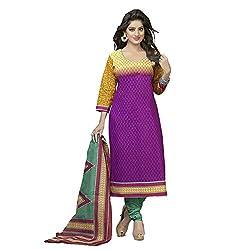 Stylish Girls Purple Cotton Dress Materials
