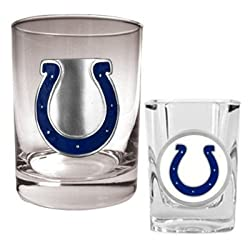 NFL Indianapolis Colts Rocks Glass & Shot Glass Set - Primary Logo