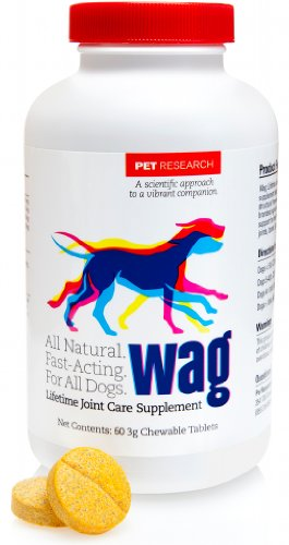 Wag Lifetime Joint Care Chewable Supplement For Dogs (60 Tablets). A Premium All Natural Dog Joint Supplement.