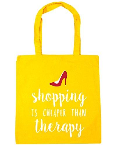 HippoWarehouse Shopping è meno terapia Tote Shopping Palestra Borsa Da Spiaggia 42cm x38cm, 10litri Yellow Taglia unica