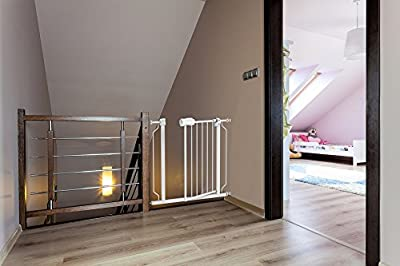 """Baby Safety Gate with Walk-Thru Door - From 29"""" to 39"""" with 1 Extension - Strong Durable Metal with Easy Locking System - Great for Doorways, Staircases, Children or Pets"""