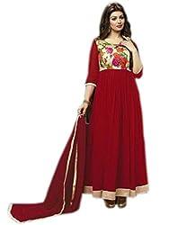 Culture Fab maroon Georgette Anarkali Suit