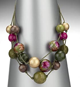 Per Una Assorted Bead 3 Row Necklace