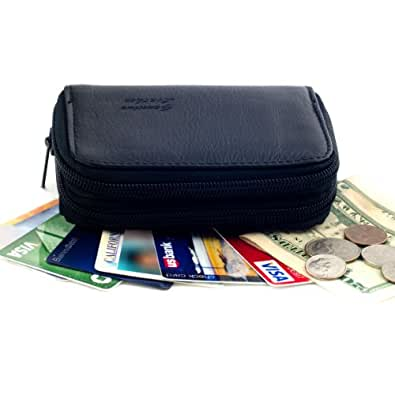 Maxam Genuine Leather Credit Card Case Organizer Compact Wallet