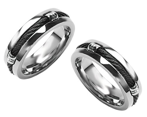 Titanium Wedding Ring for Men with Carbon-Fiber Rope Inlay Size 13 – Keen