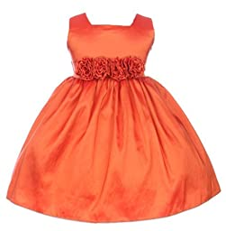 Sweet Kids Baby Girls\' Slvless Dress Flw Waistband 18M Lg Orange (SK B3047)