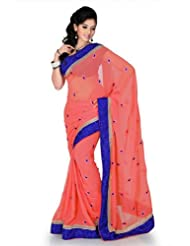 Designersareez Women Chiffon Embroidered Onion Pink Saree With Unstitched Blouse(1201)