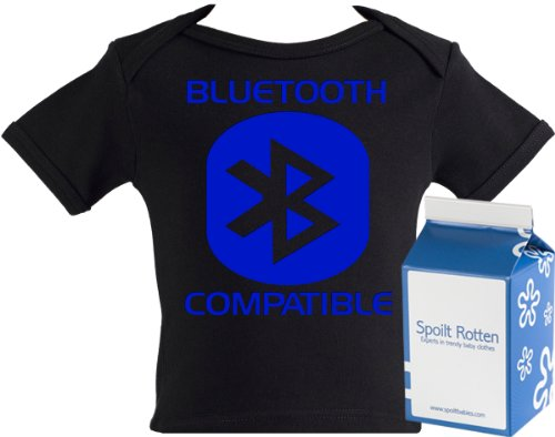 Spoilt Rotten - Bluetooth Compatible Baby & Toddler Retro T-Shirt 100% Organic Sizes 0-6 months WHITE/BLACK in funky Milk Carton
