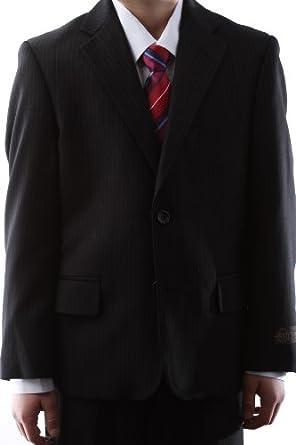Caravelli Boy Dress Suit Black Pinstripe Two Button Size Husky 10