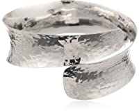 """Sterling Silver Hammered Bypass Cuff Bracelet, 7"""" by Athra NJ, Inc."""