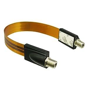 Hanwha BS/CS放送対応 フラットケーブル 隙間 アンテナケーブル 24cm(0.24m) [同軸ケーブル すきまケーブル][F型接栓-F型接栓][デジタル衛星放送対応 テレビコード サッシ] UMA-ATC3FT