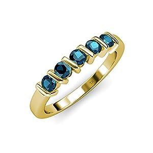 Blue Diamond 5 Stone Bar Set Wedding Band 0.75 ct tw in 14K Yellow Gold