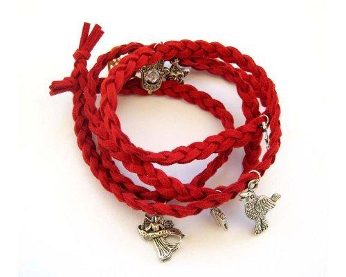 Ovalbuy Fashion Jewelry Red Korean Velvet Fabric Disney Bracelet with Pendants