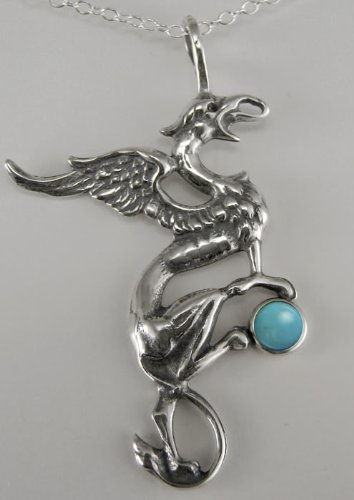King Arthur's Griffin in Sterling Silver Accented with Genuine Turquoise