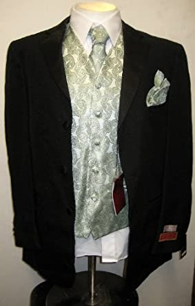 New Mens 7 Piece Complete Black and Green Tuxedo with Paisley Vest, Tie & More