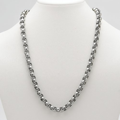 Lux Men's Stainless Steel Rolo-Link Necklace