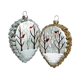 6 Silver & Gold Pine Cone w/Cardinals Glass Christmas Ornaments 4.5