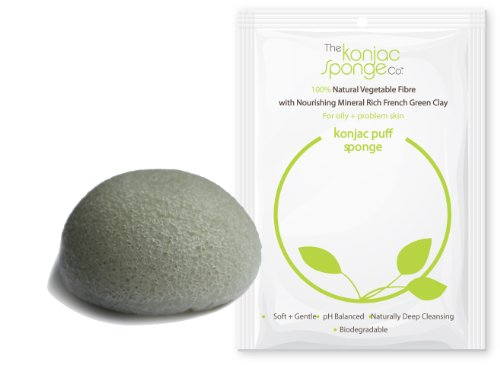 Konjac Sponge Puff with Added French Green Clay