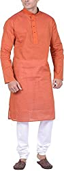 Kisah Men's Cotton Jacquard Kurta (KA-S-049K-38_Orange_38)