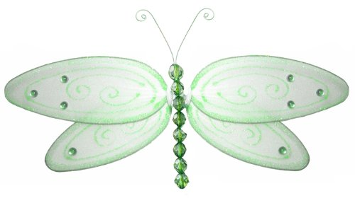 "Hanging Dragonfly 13"" Large Green Glitter Nylon Dragonflies Decorations. Decorate For A Baby Nursery Bedroom, Girls Room Ceiling Wall Decor, Wedding Birthday Party, Bridal Baby Shower, Bathroom. Kids Childrens Dragonfly Decoration 3D Art Craft"