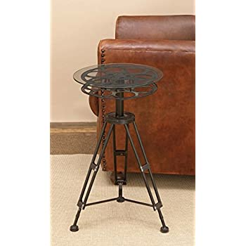 """Deco 79 51652 Metal Glass Accent Table, 25"""" x 15"""""""