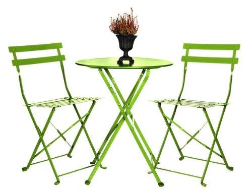 Berkeley 3 pcs Folding Bistro Set - Green - Garden Furniture/Seating/Table & Chairs