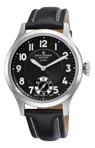 Revue Thommen Men's 16061.3537 Air speed Mens Black Face Mechanical Watch Watch