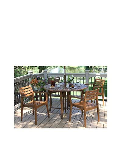 Outdoor Interiors Eucalyptus 5-Piece Dining Set, Brown
