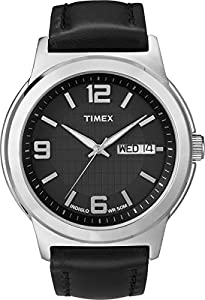 Timex Men's T2E561 Elevated Classics Dress Black Leather Strap Watch