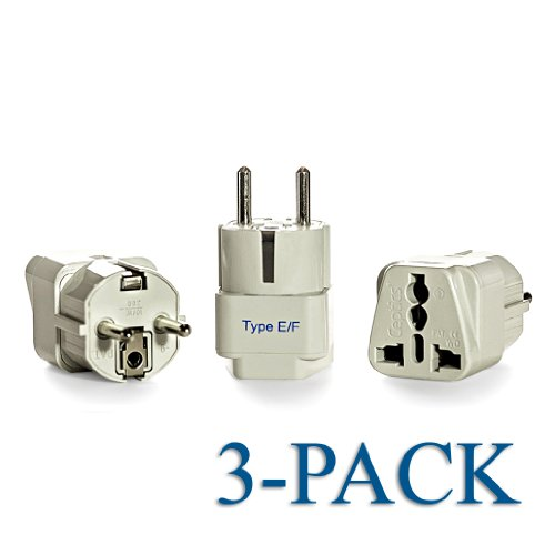 Ceptics Grounded Universal Plug Adapter For Europe, Germany, France (Schuko) (Type E/F) - 3 Pack