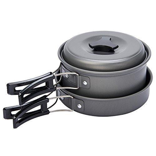 Peacechaos®8pcs Lightweight Outdoor Camping Hiking Cookware Backpacking Cooking Picnic Bowl Pot Pan Set