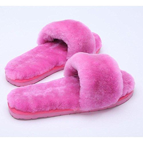 JIAJIA Pantofole di pelle di pecora lana uno piani casa pantofole inverno lana peluche casa Scarpe donna 2 3 4 5 6 7 8 9 10 11 12 13 14 35 36 37 38 39 , d , 37