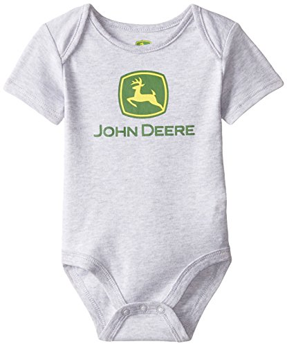 John Deere Baby-Boys Newborn Short Sleeve Trademark Bodyshirt, Heather Grey, 6-9 Months
