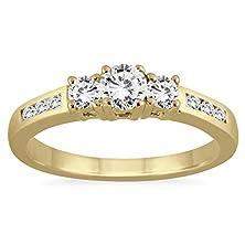 buy 1/2 Carat Diamond Three Stone Ring In 10K Yellow Gold
