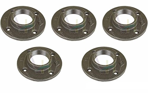 1 1 4 inch black floor flange malleable fittings 5 pack for 1 5 inch floor flange