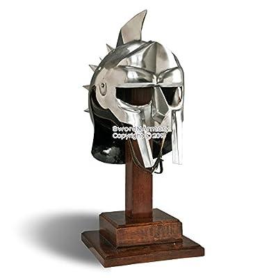 Wearable Gladiator Maximus Roman Spiked Helmet 18 Gauge Steel w/ Leather Liner