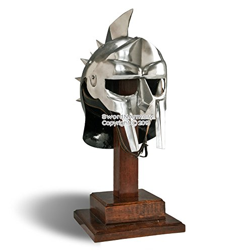 Wearable Gladiator Maximus Roman Spiked Helmet 18 Gauge Steel w/ Leather Liner