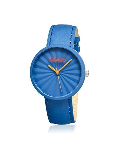Crayo Women's CR1507 Pleats Blue Leather Watch